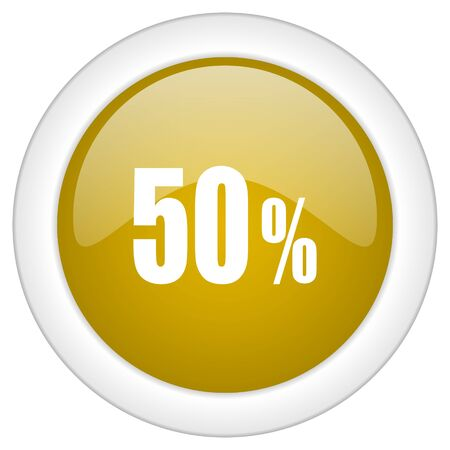 commission: 50 percent icon, golden round glossy button, web and mobile app design illustration
