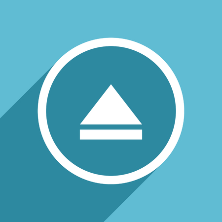 eject icon: eject icon, flat design blue icon, web and mobile app design illustration