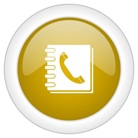 phonebook: phonebook icon, golden round glossy button, web and mobile app design illustration Stock Photo