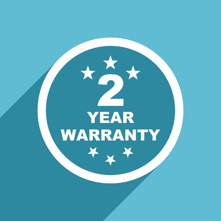 best security: warranty guarantee 2 year icon, flat design blue icon, web and mobile app design illustration Stock Photo