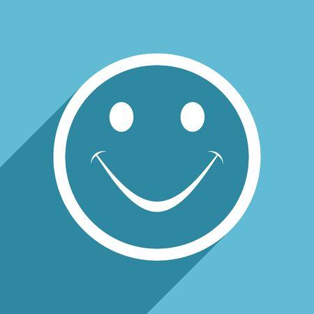 smile icon: smile icon, flat design blue icon, web and mobile app design illustration