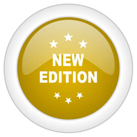 new and improved: new edition icon, golden round glossy button, web and mobile app design illustration