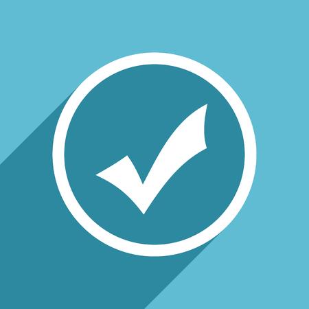 accept icon: accept icon, flat design blue icon, web and mobile app design illustration