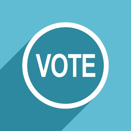vote icon: vote icon, flat design blue icon, web and mobile app design illustration