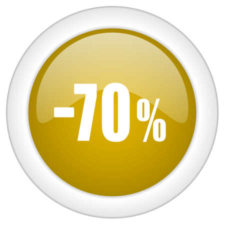 70: 70 percent sale retail icon, golden round glossy button, web and mobile app design illustration