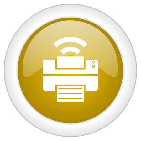 peripheral: printer icon, golden round glossy button, web and mobile app design illustration