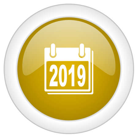 scheduler: new year 2019 icon, golden round glossy button, web and mobile app design illustration Stock Photo