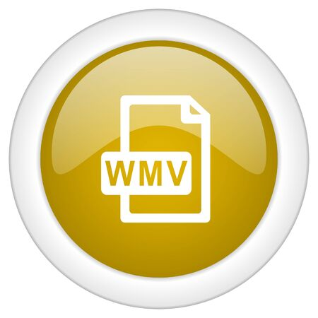 wmv: wmv file icon, golden round glossy button, web and mobile app design illustration