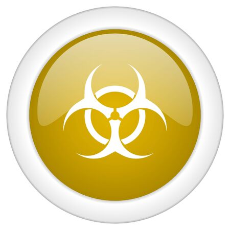 bacterioa: biohazard icon, golden round glossy button, web and mobile app design illustration