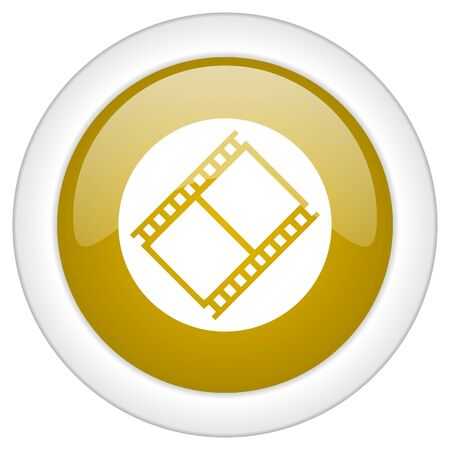 watch movement: film icon, golden round glossy button, web and mobile app design illustration