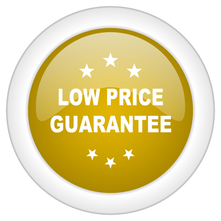 low price: low price guarantee icon, golden round glossy button, web and mobile app design illustration Stock Photo