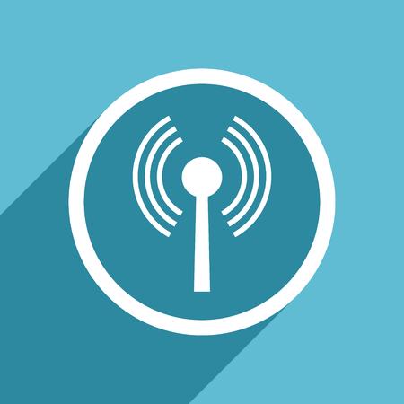 wifi icon: wifi icon, flat design blue icon, web and mobile app design illustration