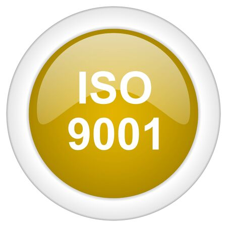 certificated: iso 9001 icon, golden round glossy button, web and mobile app design illustration
