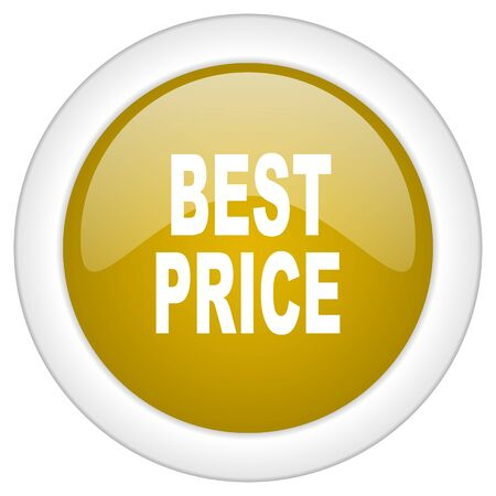 best price icon: best price icon, golden round glossy button, web and mobile app design illustration
