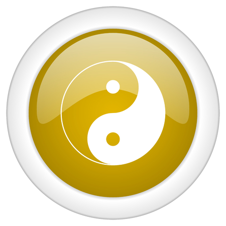 ying and yang: ying yang icon, golden round glossy button, web and mobile app design illustration