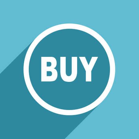 buy icon: buy icon, flat design blue icon, web and mobile app design illustration Stock Photo