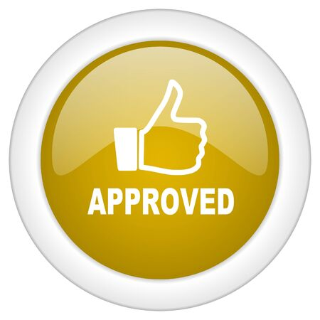 approved icon: approved icon, golden round glossy button, web and mobile app design illustration