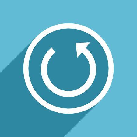 rotate icon: rotate icon, flat design blue icon, web and mobile app design illustration