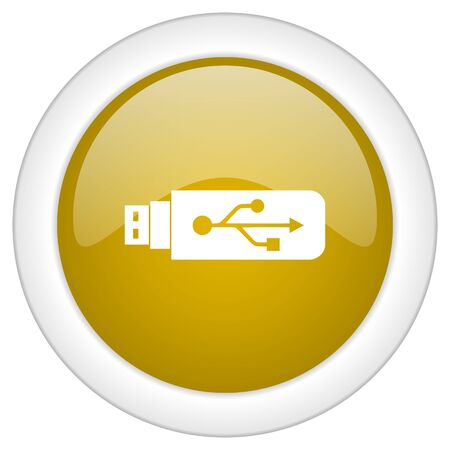 usb pendrive: usb icon, golden round glossy button, web and mobile app design illustration