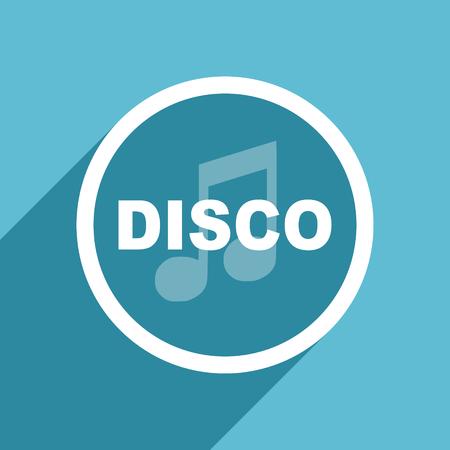 live stream radio: disco music icon, flat design blue icon, web and mobile app design illustration