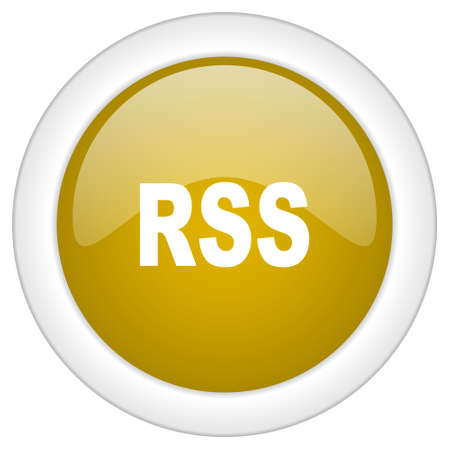 rss icon: rss icon, golden round glossy button, web and mobile app design illustration