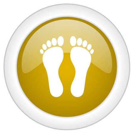 orthopedics: foot icon, golden round glossy button, web and mobile app design illustration
