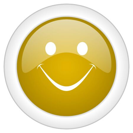 confirmed: smile icon, golden round glossy button, web and mobile app design illustration Stock Photo