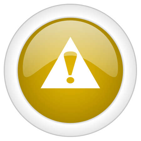 exclamation sign icon: exclamation sign icon, golden round glossy button, web and mobile app design illustration