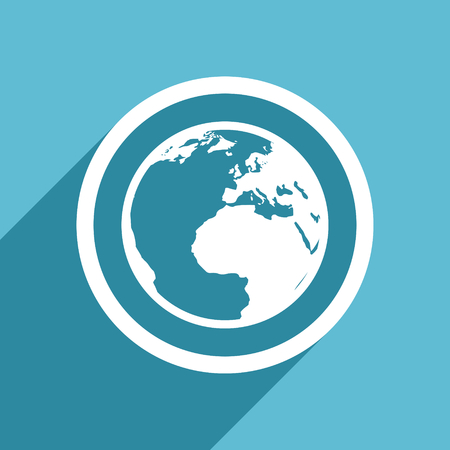 meridians: earth icon, flat design blue icon, web and mobile app design illustration