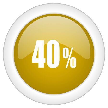 commission: 40 percent icon, golden round glossy button, web and mobile app design illustration