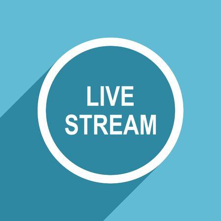 livestream: live stream icon, flat design blue icon, web and mobile app design illustration Stock Photo