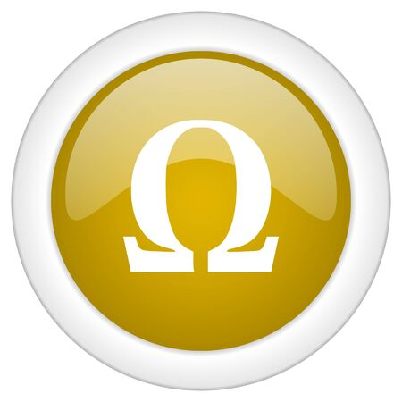 antioxidant: omega icon, golden round glossy button, web and mobile app design illustration Stock Photo