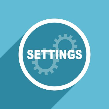 settings icon: settings icon, flat design blue icon, web and mobile app design illustration
