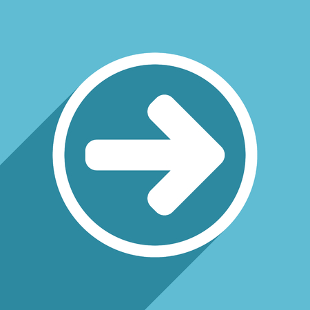 blue arrow: right arrow icon, flat design blue icon, web and mobile app design illustration