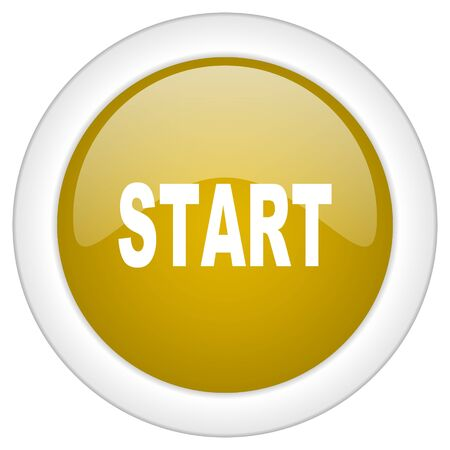 beginnings: start icon, golden round glossy button, web and mobile app design illustration