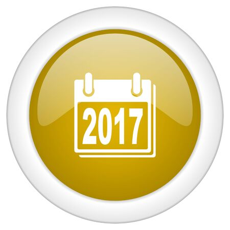 scheduler: new year 2017 icon, golden round glossy button, web and mobile app design illustration
