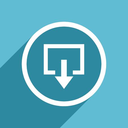 exit icon: exit icon, flat design blue icon, web and mobile app design illustration