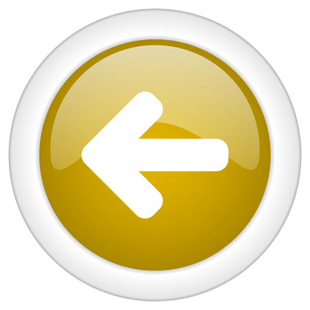 move backward: left arrow icon, golden round glossy button, web and mobile app design illustration Stock Photo