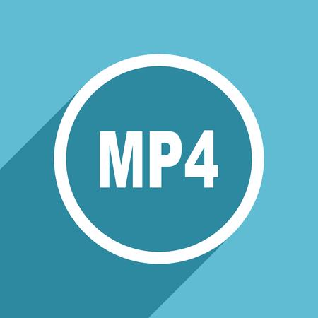 mp4: mp4 icon, flat design blue icon, web and mobile app design illustration