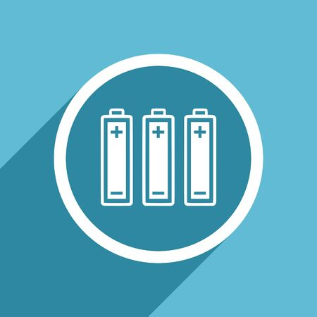 accuse: battery icon, flat design blue icon, web and mobile app design illustration