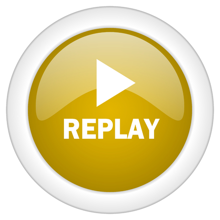 proceed: replay icon, golden round glossy button, web and mobile app design illustration