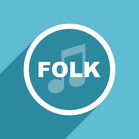 folk music: folk music icon, flat design blue icon, web and mobile app design illustration Stock Photo