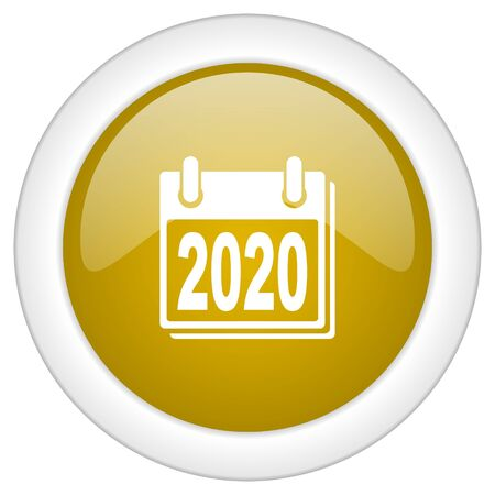 scheduler: new year 2020 icon, golden round glossy button, web and mobile app design illustration Stock Photo