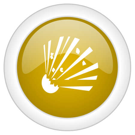 bomber: bomb icon, golden round glossy button, web and mobile app design illustration Stock Photo