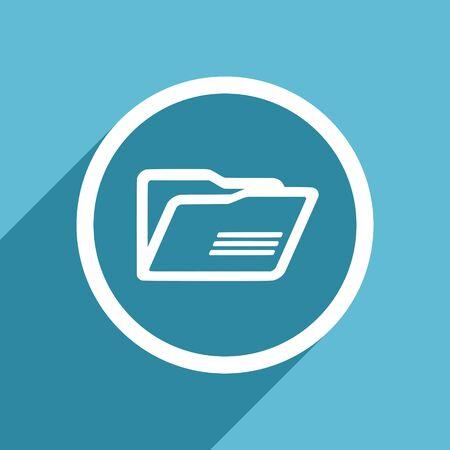 folder icon: folder icon, flat design blue icon, web and mobile app design illustration Stock Photo
