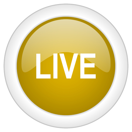 live stream movie: live icon, golden round glossy button, web and mobile app design illustration