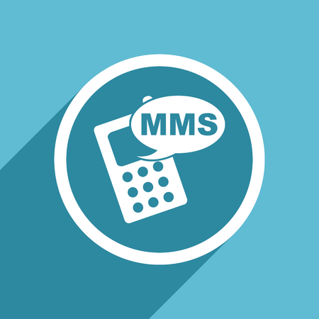 mms icon: mms icon, flat design blue icon, web and mobile app design illustration
