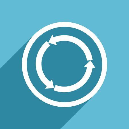 refresh icon: refresh icon, flat design blue icon, web and mobile app design illustration