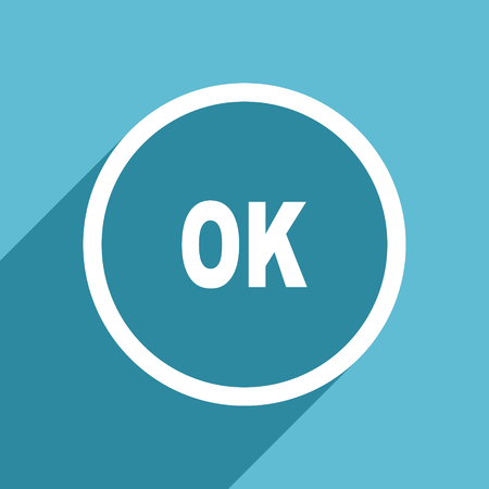 ok icon: ok icon, flat design blue icon, web and mobile app design illustration Stock Photo
