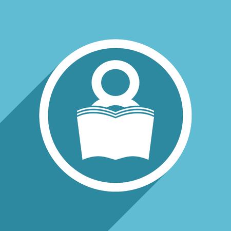 bibliophile: book icon, flat design blue icon, web and mobile app design illustration Stock Photo